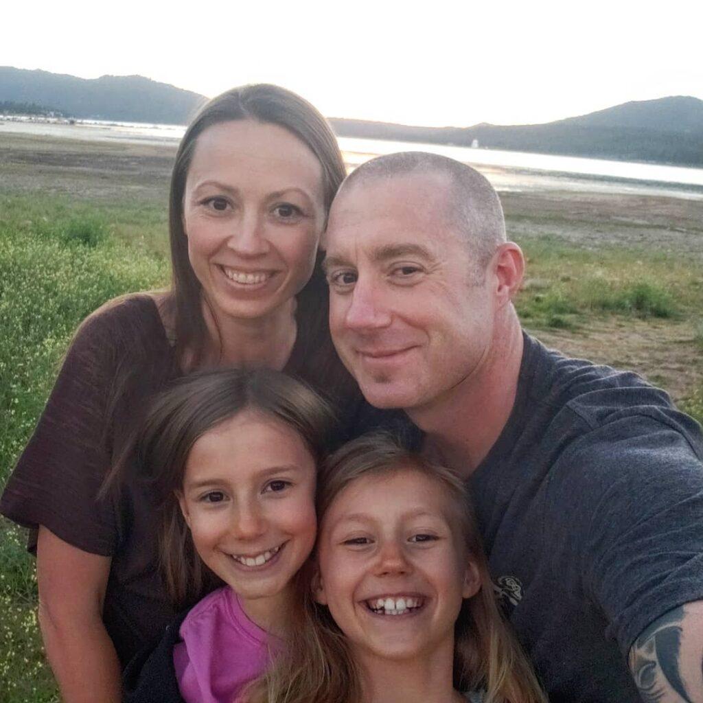 Brian, Chrystal, Zoë and Kaylee Johnson by Big Bear Lake