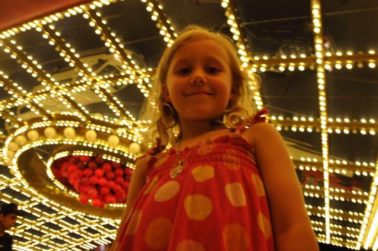 Kaylee enjoying the night time lights outside Circus Circus.