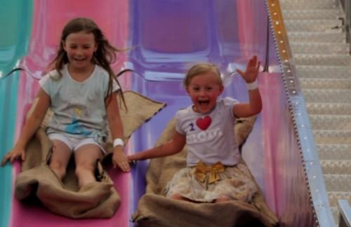 Kaylee pulling ahead on the slide