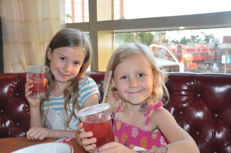 The girls with their drinks at Buddy Vs Ristorante