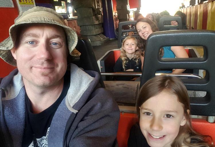 The Johnson family on the Jaguar ride at Knott's Berry Farm