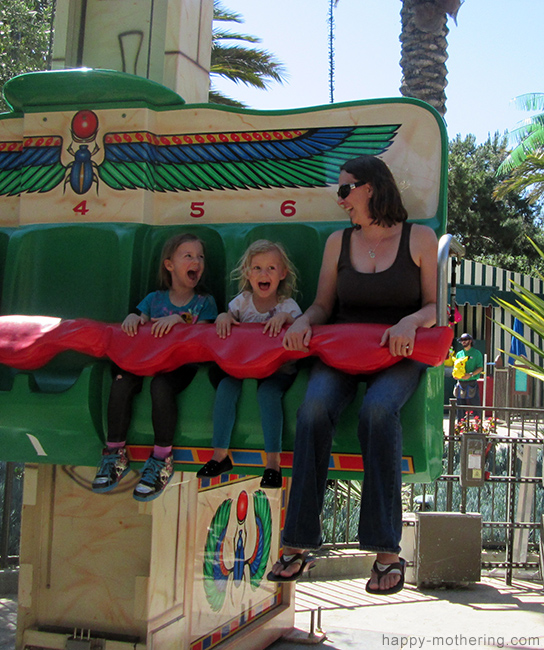 Chrystal, Zoë and Kaylee on a ride at Legoland
