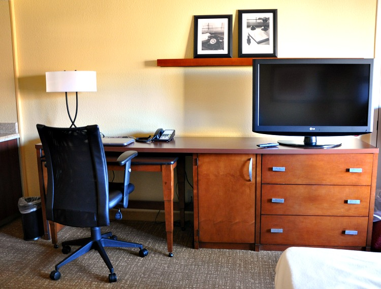 TV and desk at Marriott Courtyard in Buena Park, CA