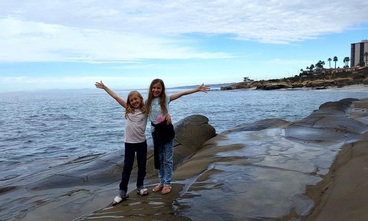 Zoë and Kaylee in front of the ocean in La Jolla, CA