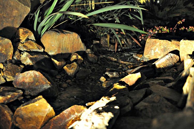 A calming stream runs through the Pantai Inn property in La Jolla, CA