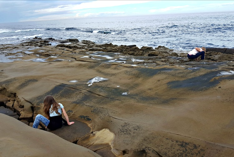 Zoë and Kaylee playing in the tide pools in La Jolla, CA