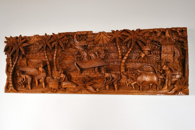Hand carved Balinese wall hanging in our suite at the Pantai Inn in La Jolla, CA