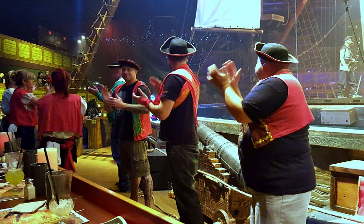 Brian and the men dressed up at the Pirate's Dinner Adventure Christmas show