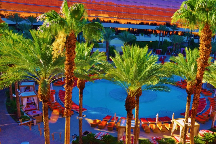 Palm trees surrounding the huge pool at Red Rock Casino, Resort and Spa