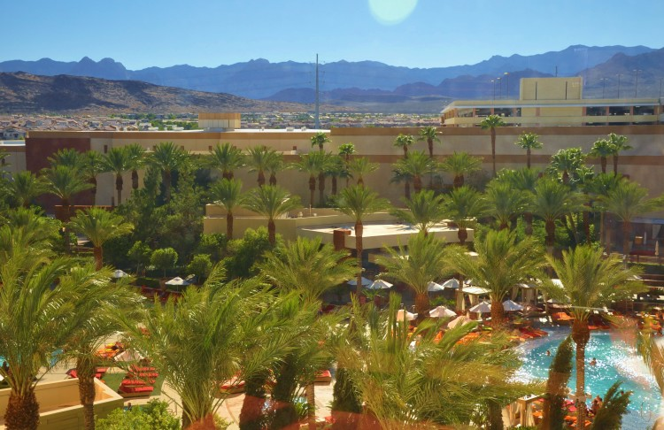 View from our suite at Red Rock Casino hotel overlooking pool, desert and mountains