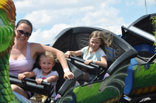 Mommy, Kaylee and Zoë on the roller coaster at Las Vegas Mini Gran Prix