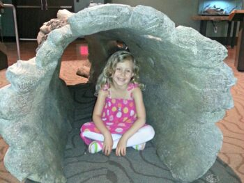 Kaylee sitting inside a hollow log at the Natural History Museum in San Diego, CA