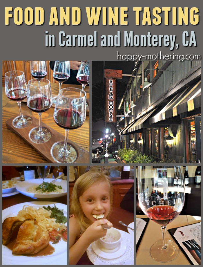 Collage of images from our food and wine tasting in Carmel, CA
