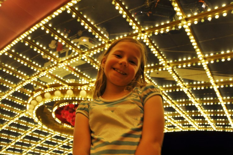 Zoë under the lights at Circus Circus