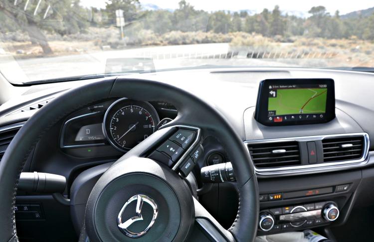 Mazda3 Grand Touring steering wheel and navigation