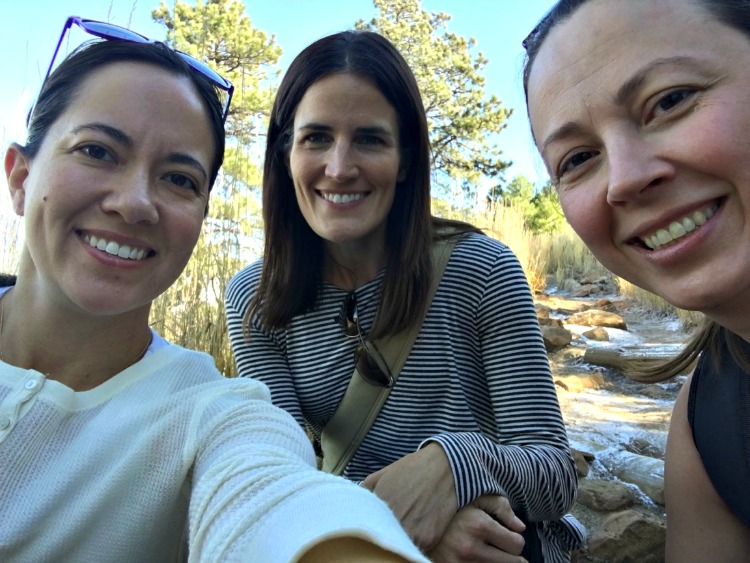 Chrystal, Michelle and Amanda hiking in Boulder