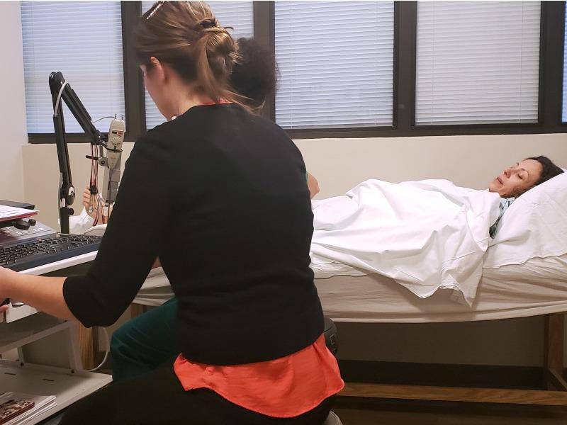 Chrystal getting a NCV and EMG at Loma Linda University Medical Center