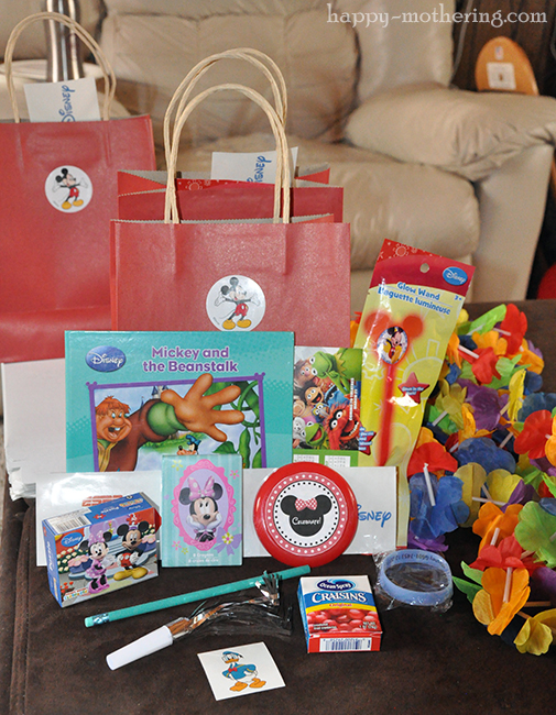 Contents of the goodie bags from Kaylee's 4th birthday