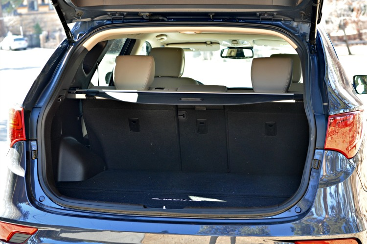 Hyundai Santa Fe Sport with the trunk open