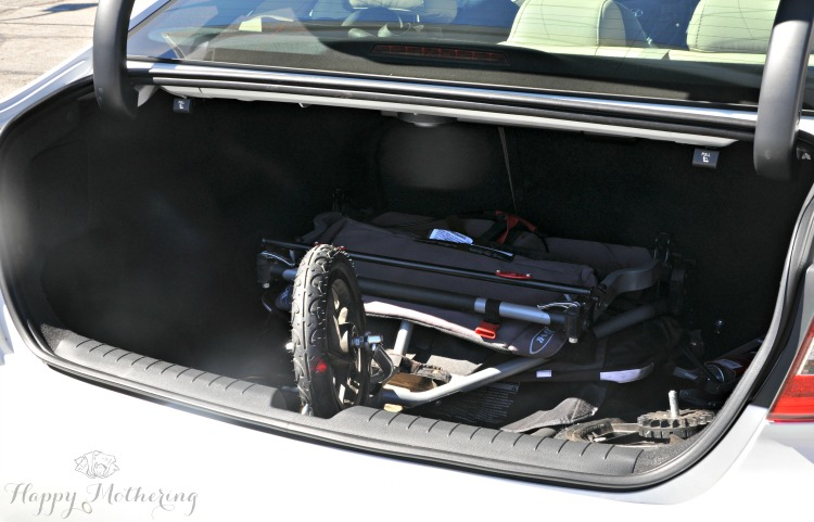 Hyundai Sonata Limited trunk with double stroller folded up in it