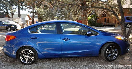 Side view of blue Kia Forte in driveway with trees