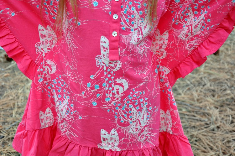 Close up of fairy fabric from dress