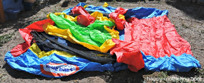 Deflated bouncy house in yard
