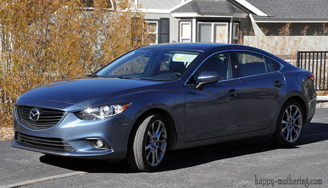 Front of a blue Mazda6 Grand Touring that we test drove
