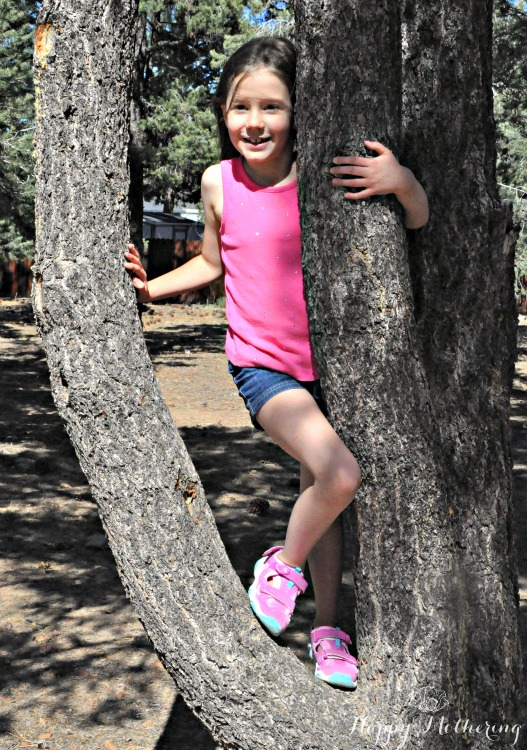 Zoë climbing in a tree at the park