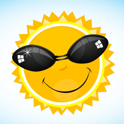 Sun smiling with sunglasses