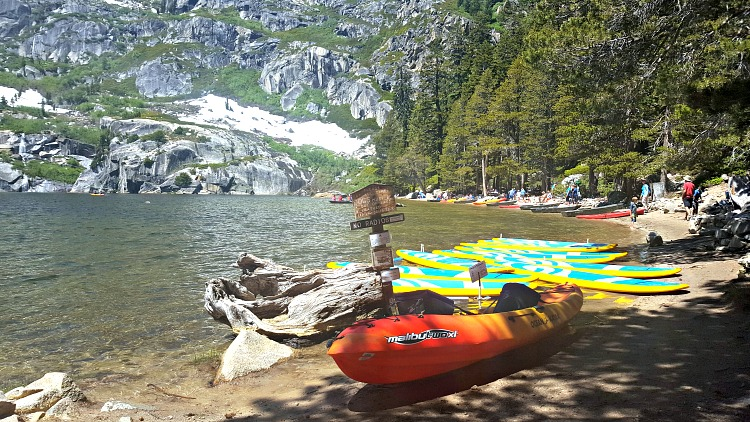 Kayaks on the shore of Angora Lake in Tahoe South