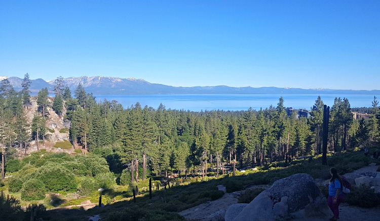 View from mountaintop after hiking in Tahoe South
