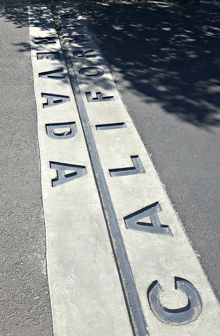 California Nevada state line in Tahoe South