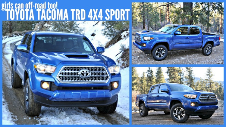 Collage of images of blue Toyota Tacoma TRD 4x4 Sport